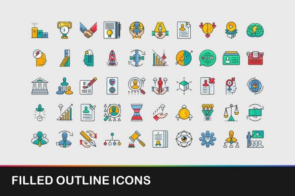 filled outline icons powerpoint templates 001 warnaslides.com