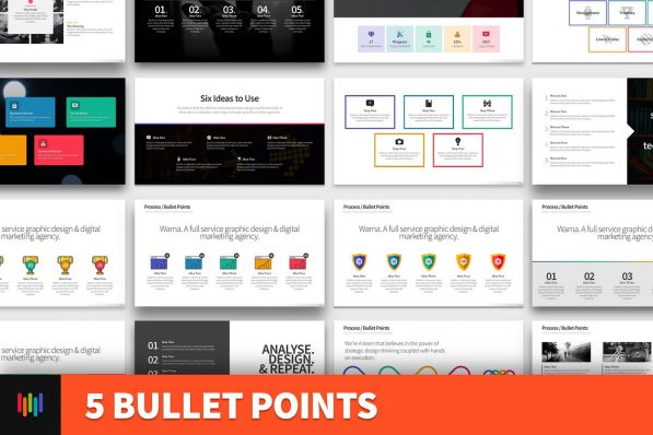 5 Bullet Points Powerpoint Template For Business Pitch Deck Professional Creative Powerpoint Icons 001