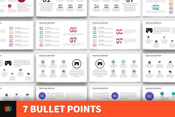 7 Bullet Points Powerpoint Template For Business Pitch Deck Professional Creative Powerpoint Icons 001