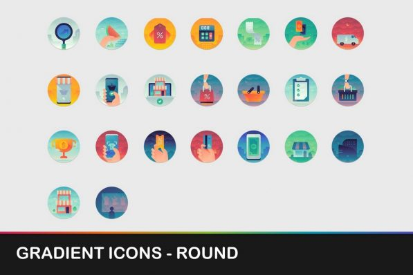 gradient round icons powerpoint templates 001 warnaslides.com