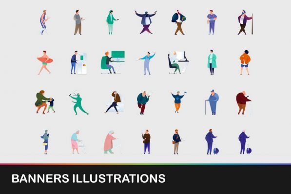 banners illustrations icons powerpoint templates 001 warnaslides.com