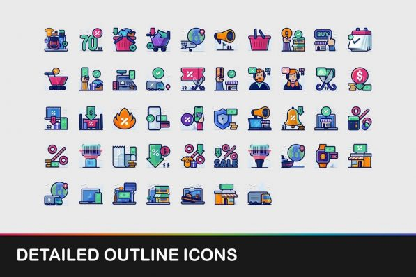 detailed outline icons powerpoint templates 001 warnaslides.com