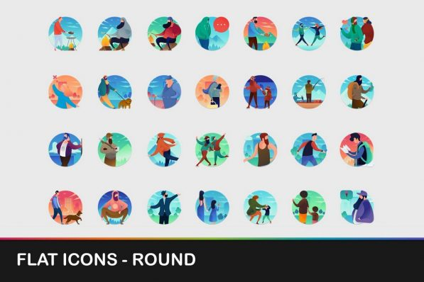 flat round icons powerpoint templates 001 warnaslides.com