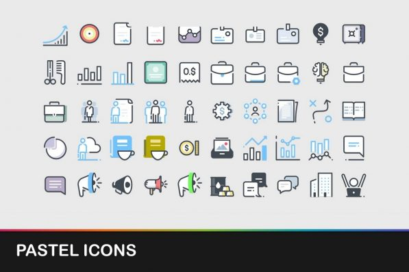 pastel icons powerpoint templates 001 warnaslides.com